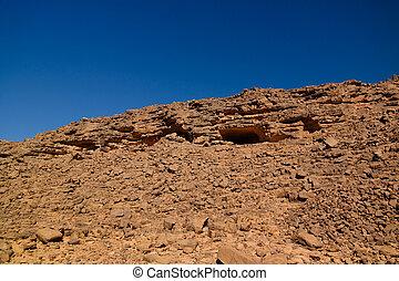el, aéreo, argelia, panorámico, nacional, berdj, parque,...