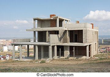 el, abandonado, construcción, de, un, pequeño, privado, casa