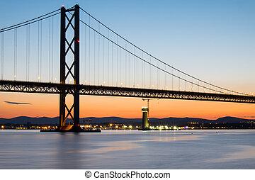 el, adelante, camino, puente, en, escocia