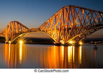 el, adelante, puente baranda, en, amanecer