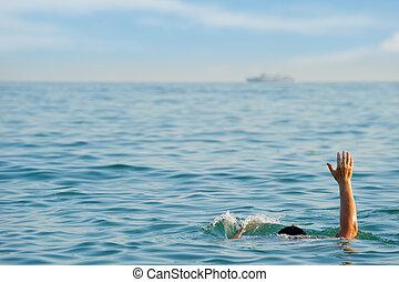 el, ahogo, hombre