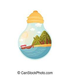 el, alak, fény, belső, ábra, lesiklik, vektor, island., bulb., csónakázik
