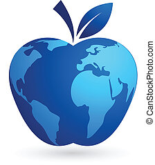 el, aldea global, -, mundo, manzana