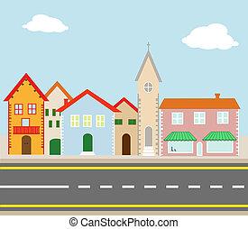 el, aldea, sobre el calle