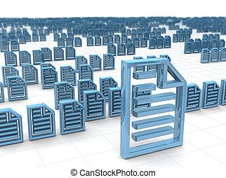 el almacenar, concepto, electrónico, hosting, datos