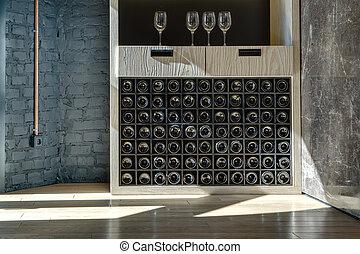 el almacenar, estante, especial, vino