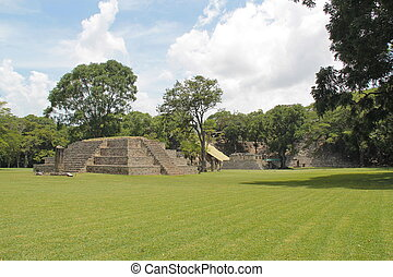 el, antiguo, maya, archaelogical, sitio, de, copan, en, honduras, uno