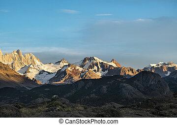 el, argentina, nevoso, montañas, chalten