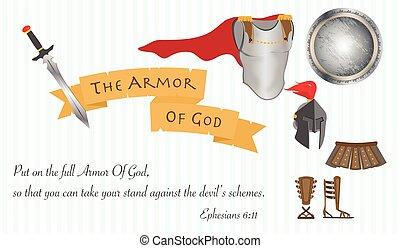 el, armadura, de, dios, cristianismo, amor, jesucristo, biblia, vector, ilustración