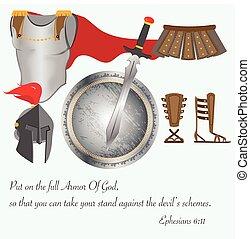 el, armadura, de, dios, cristianismo, jesucristo, batalla, vector, ilustración