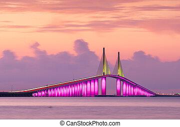 el atravesar, sol, bahía, más bajo, tampa, puente, skyway