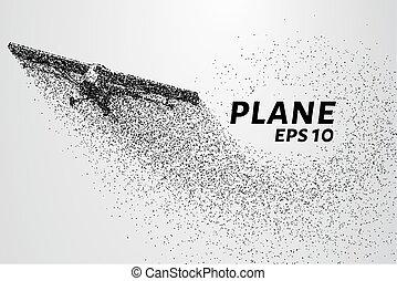 el, avión, de, el, particles., avión agrícola, toma, saliendo., el, avión, disintegrates, a, más pequeño, molecules.