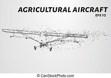 el, avión, de, el, particles., avión agrícola, toma, saliendo., el, avión, disintegrates, a, más pequeño, molecules., vector, ilustración