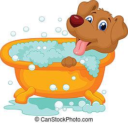 el bañarse, perro, caricatura, tiempo