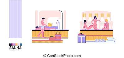 el bañarse, plano, hombres, sauna, gente, mujeres, vector