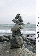 el balancear, escultura, rocas