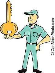 el balancear, palma, caricatura, llave, cerrajero