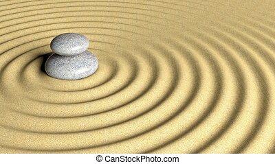 el balancear, zen, piedras, pila, de, grande, a, pequeño, en, arena, con, circular, ripples.