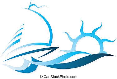 el, barco, en, ondas, vector
