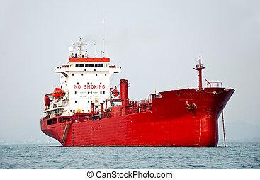 el, barco grande, de, petrolero