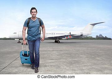 el, beszerez, repülőgép, ázsiai, bőrönd, utazó, ember