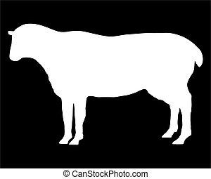 el, blanco, silueta, de, un, sheep, en, negro