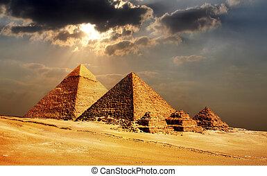 el cairo, egipto, pirámides, giza