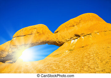 el, caliente, sol, encima, desierto de namib