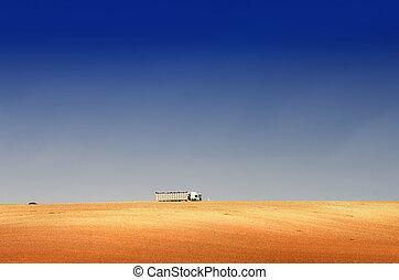 el, camión, en, el, colina