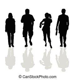 el caminar de la gente, negro, silueta