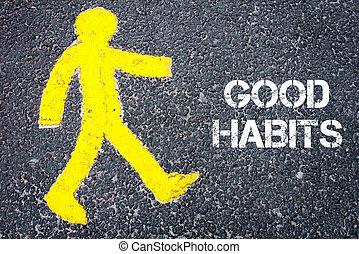 el caminar hacia, figura, amarillo, peatón, bueno, hábitos
