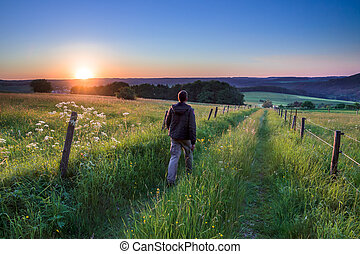 el caminar hacia, ocaso, trayectoria, por, hombre