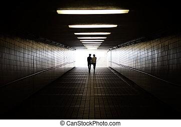 el caminar hacia, silueta, pareja, joven, peatón, salida, paso inferior