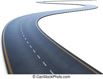 el, camino, con, un, mancha, yendo, a, un, distancia