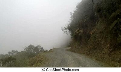 El Camino de la Muerte - The Death Road in Yungas Region, Northeast of La Paz, Bolivia,