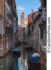 el, canal grande, en, venecia