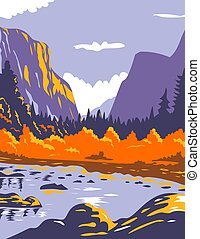 El Capitan or El Cap during fall in Yosemite National Park Sierra Nevada of Central California WPA Poster Art