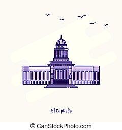 EL CAPITOLIO Landmark Purple Dotted Line skyline vector illustration