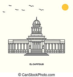 EL CAPITOLIO Monument. World Travel Natural illustration Background in Line Style