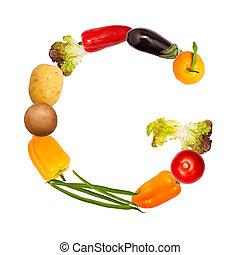 el, carta g, en, vario, frutas y vehículos