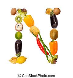 el, carta n, en, vario, frutas y vehículos