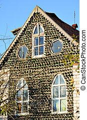 el, casa, construido, de, vidrio embotella