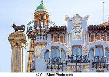 el, castel, プラザ, carlos, 像, teruel, torico, aragon, スペイン