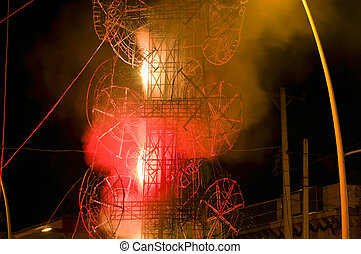 Fireworks display on El Castillo structure at Chapala Mexico plaza