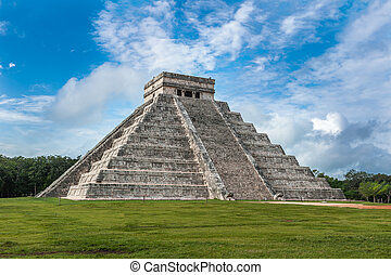 El Castillo or Temple of Kukulkan pyramid, Chichen Itza,...