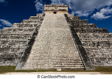 El Castillo Pyramid at Chichen Itza - View up the stairs of...
