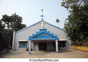 el, católico, iglesia, en, kumrokhali, bengala del oeste,...