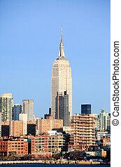 el, ciudad nueva york, centro de la ciudad, contorno