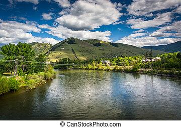 el, clark, tenedor, río, en, missoula, montana.