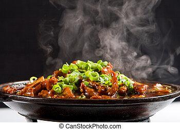 el cocer al vapor, guisado, carne